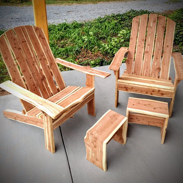 custom wood chairs with foot rests